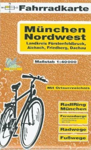 Fahrradkarte München Nordwest Landkreis Fürstenfeldbruck, Aichach, Friedber 1380